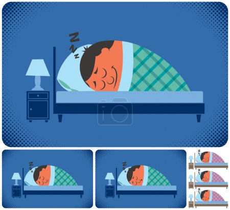 Illustration for Cartoon illustration of sleeping man in 6 versions. No transparency and gradients used. - Royalty Free Image