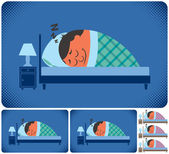 Cartoon illustration of sleeping man in 6 versions No transparency and gradients used