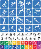 Set of 20 pictograms of the Olympic winter sports in 3 versions No transparency and gradients used