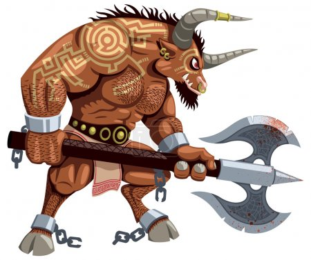 Minotaur over white background. No transparency and gradients used.
