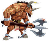 Minotaur over white background No transparency and gradients used
