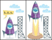 Comics about rocket taking off No transparency and gradients used