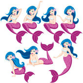 Mermaid in 7 different poses No transparency and gradients used
