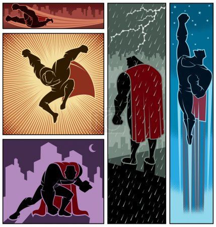 Illustration for Set of 5 superhero banners. No transparency and gradients used. Check the other sets from these series. - Royalty Free Image