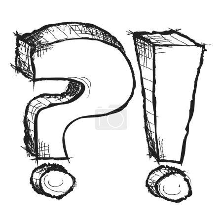Photo pour Question dessiné main fragmentaires et points d'exclamation isolés - image libre de droit