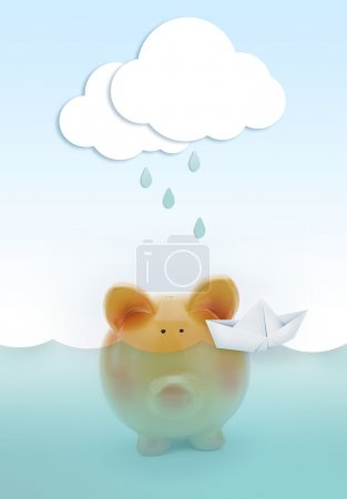 Piggy bank drowning in water, with paper cloud raining above and boat