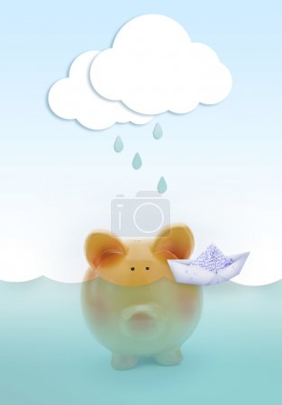 Photo for Piggy bank drowning in water, with paper cloud raining above and boat - Royalty Free Image