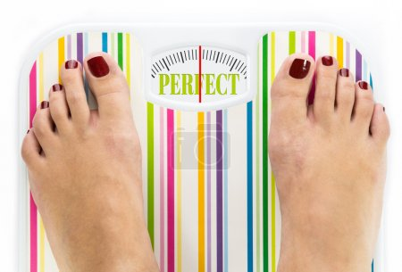 "Feet on bathroom scale with word ""Perfect"" on dial"