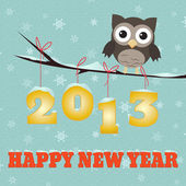 Little brown owl on branch and snowy 2013 happy new year text
