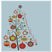 Stylish retro Christmas tree with Merry Christmas and Happy New year greeting text