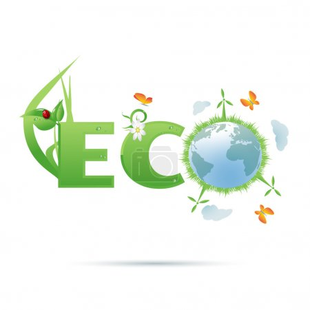 Eco-planet text symbol/Eco-planet text symbol with...