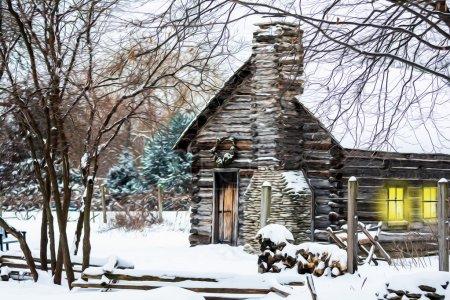 Snowy Winter Log Cabin