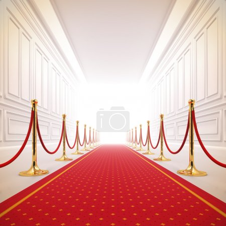 Photo for A 3d illustration of red carpet path to the success light. - Royalty Free Image