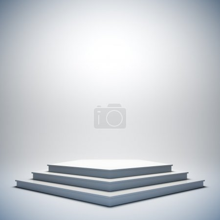 Photo for A 3d illustration of blank template layout of white empty musical, theater, concert or entertainment stage. - Royalty Free Image