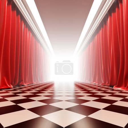 Photo for Hall of fame. A 3d illustration of empty hall with red curtains in victorian style. - Royalty Free Image