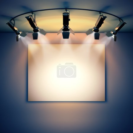 Photo for 3d render illustration blank template layout of empty white picture canvas on wall illuminated by spotlights. - Royalty Free Image