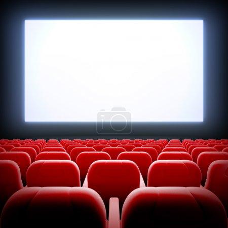 Photo pour 3D render illustration modèle vierge de salle de cinéma vide avec écran large blanc et fauteuils de velours rouge - image libre de droit
