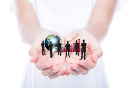 Hands hold Silhouettes of business with red graph and earth (Ele