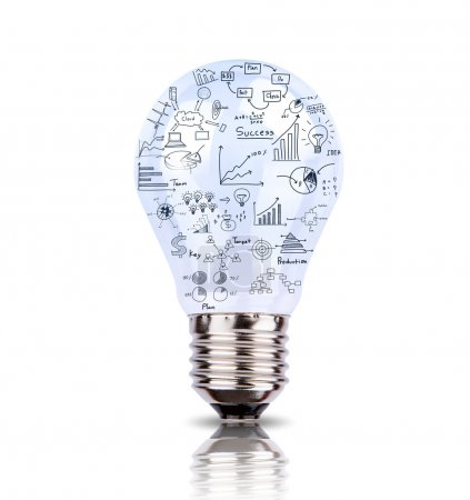 Light bulb with drawing graph inside isolated on white backgroun