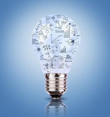 Photo pour Ampoule avec dessin graphique à l'intérieur - image libre de droit