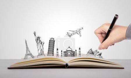 Photo pour Écriture de main sur le livre des voyages (Australie, france, i talie, new york, Inde,) - image libre de droit