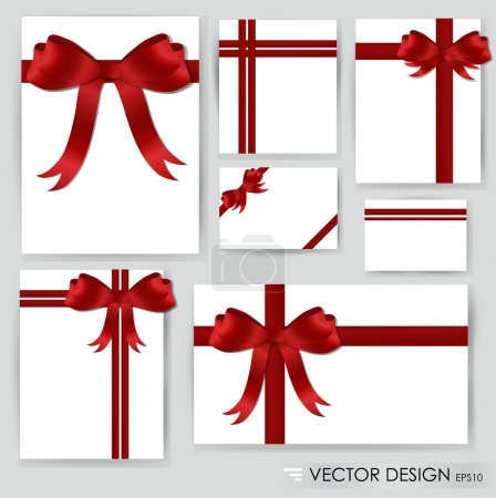 Illustration for Big set of red gift bows with ribbons. Vector illustration. - Royalty Free Image