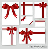 Big set of red gift bows with ribbons Vector illustration