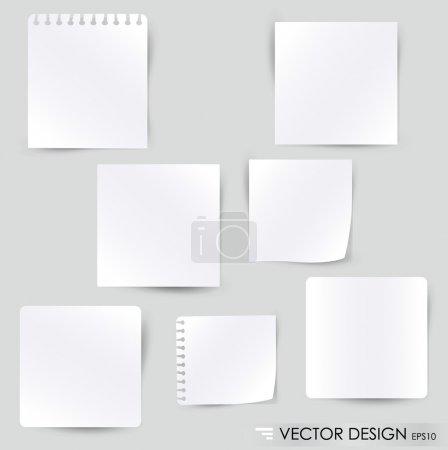 Illustration pour Collection de divers papiers blancs, prêts pour votre message. Illustration vectorielle . - image libre de droit