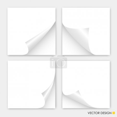 Illustration for Collection of curled corners white papers, Vector illustration. - Royalty Free Image