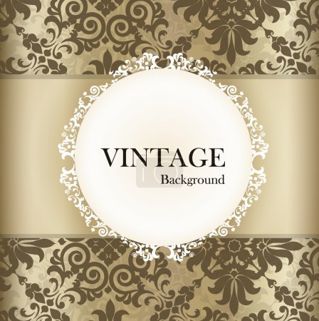 Illustration for Seamless retro pattern background with vintage label. Vector illustration. - Royalty Free Image