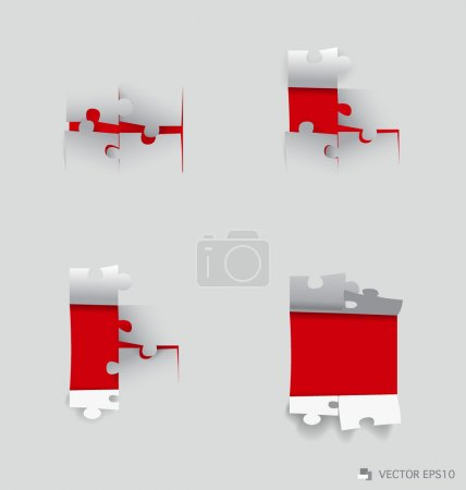 Paper cut of Puzzle. Vector illustration.