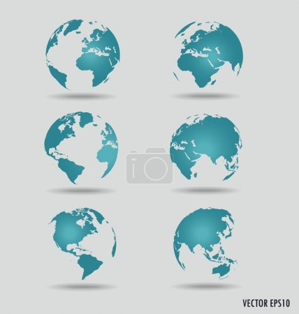 Set of modern globes. Vector Illustration.