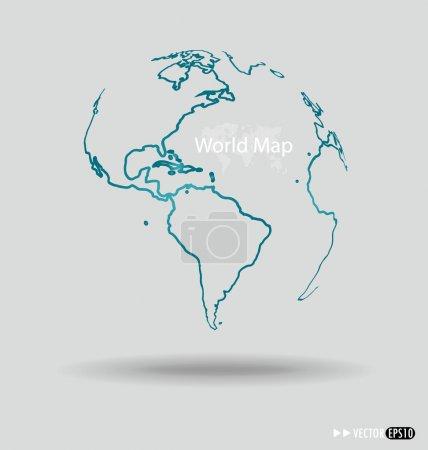 Modern globe drawing concept. Vector illustration.