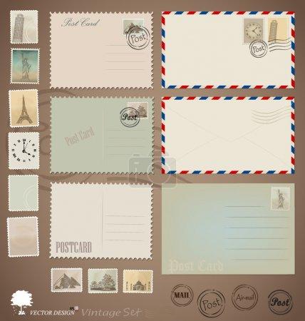 Illustration for Vector set: Vintage postcard designs, envelopes and stamps. - Royalty Free Image