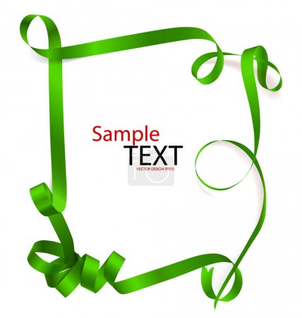 Shiny green ribbon on white background with copy space. Vector i