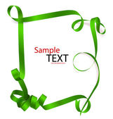 Shiny green ribbon on white background with copy space Vector i