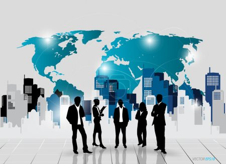 Illustration for Business people silhouettes with building background. Vector illustration. - Royalty Free Image