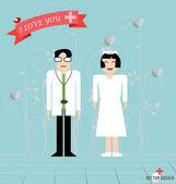 Doktor karikatura, dva lékaři muž a žena. vektorové ilustrace