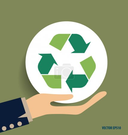 Hand with Recycle symbol. Vector symbol on the packaging, vector
