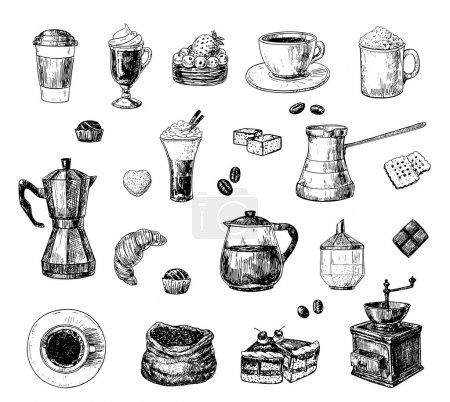 Illustration pour Ensemble d'objets liés au café dessiné à la main - image libre de droit