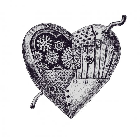 Illustration for Hand drawn illustration of mechanical heart - Royalty Free Image