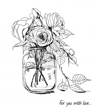 Illustration for Bouquet of hand -drawn roses in glass jar - Royalty Free Image