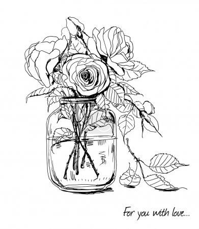 Illustration pour Bouquet de roses dessinées à la main en bocal en verre - image libre de droit