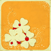 St Patrick day card three four leaf paper clovers and ladybugs on orange background with frame and hand - drawn floral ornaments vector illustration contains gradient meshes
