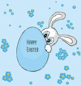 Cute cartoon bunny with big blue eyes holding Easter egg on blue background with scattered forget me not flowers