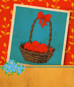 Easter card Old vintage greeting card -hand -drawn basket full of Easter eggs ribbon and bouquet of forget - me - not flowers Red background with pattern on leavesVector illustration contains gradient meshes