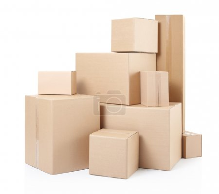 Photo for Cardboard boxes isolated on white, clipping path included - Royalty Free Image