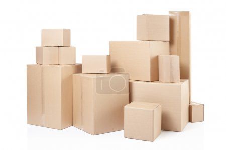 Photo for Cardboard boxes stack isolated on white, clipping path - Royalty Free Image