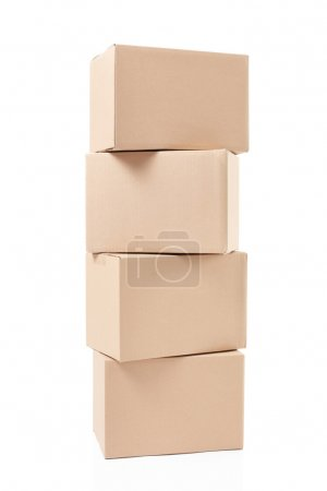Small cardboard boxes stack