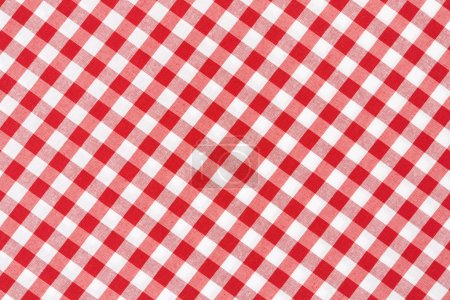 Photo for Red and white gingham tablecloth diagonal texture background, high detailed - Royalty Free Image